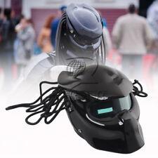 Vivid Black Motor LEDs Safety Full Face Helmet Cool Predators Mask Fiberglass M