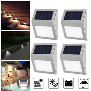 Stainless Steel 3 LED Solar Stair Light Wall Lamps Outdoor Courtyard Pathway