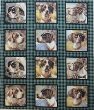 "Bird Dogs Fabric Panel 12 Blocks Hunting Hounds 5-1/8"" Quilt Squares Cotton"