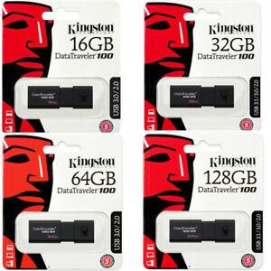 KINGSTON FLASH DRIVE PENDRIVE PENNA CHIAVETTA MEMORIA USB DT100 G3 16 32 64 128