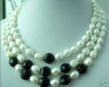 "Stunning 3rows white pearl and black onyx necklace 18""-20"""