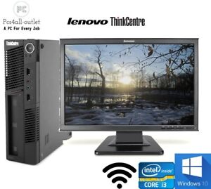 "Cheap Lenovo M90 USFF DT Tower PC Fast Intel I3 19"" Monitor 1TB 8GB SSD Win10Pro"