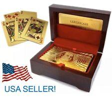 24K Deck $100 Bill PLAYING CARDS Money Hundred Dollars Gold Poker W/ Luxury Box
