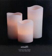 Flameless LED Flickering set of 3 Pillar Candles Amalfi Wedding wax feel candle