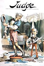 Holman Appropriations Budget Veto 1892 CUTTING EXPENSES UNCLE SAM Sizzors Tailor