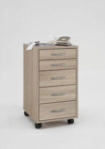 Rollcontainer Schubladenschrank Büroschrank Sonoma Eiche 5 Schubladen 33x64cm