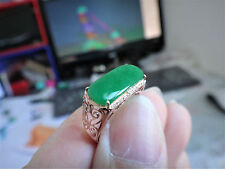 18k Solid Yellow Gold Diamond Natural Genuine A Jadeite Jade Full Green Ring