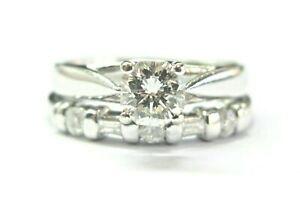 The Zales Platinum Octagon & Multi Shape Diamond Wedding Set .92Ct I-VS2 IGI