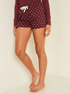 Old Navy Printed Poplin Pajama Shorts for Women BURGUNDY DOT SIZE XXL NWT