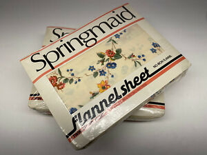Springmaid Twin Fitted & Flat Sheet SET No Iron Cream Floral Flannel VINTAGE NEW