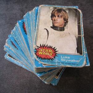 STAR WARS ~ FULL SET vintage movie trading cards (blue) ~ 1977, Topps UK ~ poor