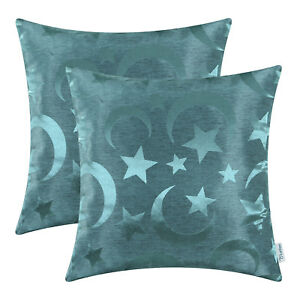 2Pcs CaliTime Teal Cushion Covers Pillows Shells Stars Moons Decor Home 45x45cm