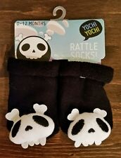 Newborn Baby Rattle Socks Booties 0-12 Months Yochi Yochi Skull Infant Soft New