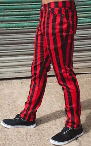 Streifen Hose Jeans Rot Schwarz Gestreift Punk Rock Inch 34