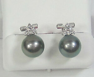 0.21CTW F SI Diamond and Black Pearl Earrings 18K White Gold