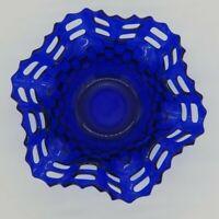Vintage Fenton Blue Opalescent Basket Weave Lace Candy Dish Bowl Woven Art Glass