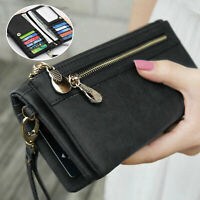 Women Lady Leather Wallet Card Holder Phone Bag Case Purse Handbag Retro Style
