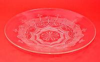 antiker Pressglasteller Ø30cm Blütendekor Kuchenteller Servierplatte um 1920