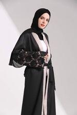 Black Abaya Black lace Kaftan Jilbab Dress With White Lace Small Large Xl Xxl