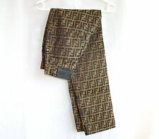 FENDI vintage ladies jeans pants brown beige gold zucca 27 monogram trousers