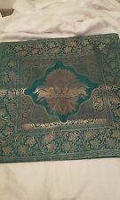 Turchese e Oro Copricuscino, fatti a mano in India.