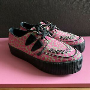 TUK Creepers Green Pink Leopard Print Double Sole UK 5 RARE