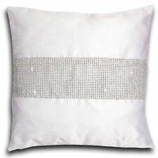 """White Diamante Faux Silk Modern Glamour Cushion Cover 18"""" x 18"""" - 45cm x 45cm"""