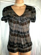 Brown & Silver Check Capped Sleeve Top in Excellent Condition Ideal Work Wear