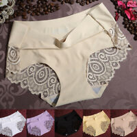 Women Ice Silk Lace G-string Briefs Panties Seamless Thongs Underwear Lingerie