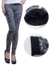 Lau-Fashion Damen Warme Winter Leggings Gefüttert Thermo Norweger Hose S/M