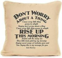 Bob Marley Every Little Thing Song Lyrics Piped Cushion With Pad 18 x 18 Inch