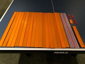 """Lot of 20 Vintage Hot Wheels Straight Track (24"""") - Orange/Striped & Connecters"""
