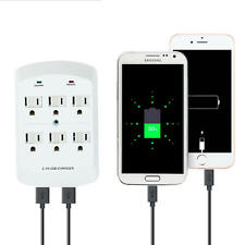 Dual USB Port Electric Wall Charger Dock Socket Power 6 Outlets Panel Plate