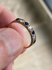 Stunning 9 Ct Gold Ring With 4 Blue & 3 White Sapphires - UK Size L (US 6)