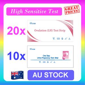 20 x Ovulation LH Test + 10 x Pregnancy Test HCG Strips Urine Fertility OPK Kit