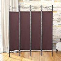 Brown Room Divider 4 Panel Screen Folding Partition Privacy Fabric Metal Frame