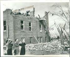 1938 Wreckage of School in Columbus, KS Original Wirephoto