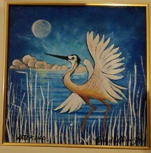 "Howard Steer Original Acrylic Painting.""Water Bird""."