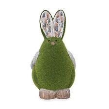 Ralph the Rabbit' Flocked Garden Ornament - Green Flock On Grey Stone
