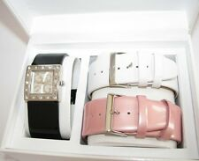 GUESS BLACK,WHITE,PINK LEATHER 3 PC BAND SET+CRYSTAL SILVER DIAL WATCH U95041L2