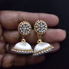 White Silk Thread Handmade Fashion Indian Partywear Earrings Jhumka Jhumki