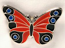 BUTTERFLY - PIN BADGE  - RED BLUE ADMIRAL STYLE   (LB-18)