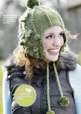 KNITTING PATTERN LADY CHULLO HAT EARFLAPS CABLE CHUNKY SKM AUA SPECIAL OFFER