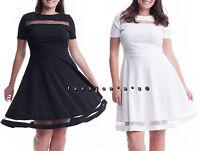 Plus Size Mesh Stripe Fit and Flare Bodycon Skater Dress Black White