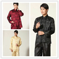 Handsome Chinese men's Tang  style silk dragon kung fu suit pajamas 4 Color **2