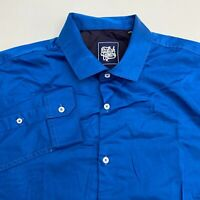 English Colours Button Up Shirt Men's Size XL Long Sleeve Blue Solid Casual