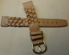 Speidel Brown Woven Braided Leather 18mm LONG Watch Band $19.95 Gold Tone Buckle