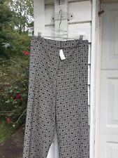 NWT Talbots Black White Check Dot Grosgrain Ribbon DeTail Lined Pants 22W 3X