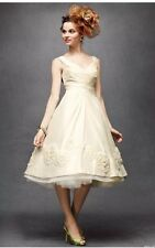 BHLDN Hitherto Ivory Silk Dupioni Pinwheel Tea Wedding Dress - Sz 8 $1400