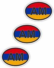 "Armenia AM Small Country Code 3x Oval Flag Stickers (0.8""x1.2"") Bumper Helmet"